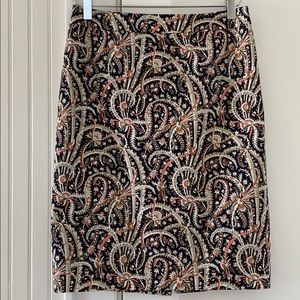 J. Crew No.2 Pencil Skirt in Feather Paisley Print